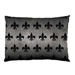 Royal1 Black Marble & Gray Metal 1 Pillow Case by trendistuff