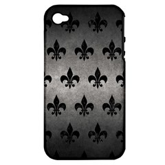 Royal1 Black Marble & Gray Metal 1 Apple Iphone 4/4s Hardshell Case (pc+silicone) by trendistuff