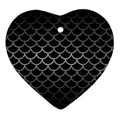 Scales1 Black Marble & Gray Metal 1 Heart Ornament (two Sides) by trendistuff
