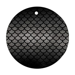 Scales1 Black Marble & Gray Metal 1 (r) Round Ornament (two Sides) by trendistuff