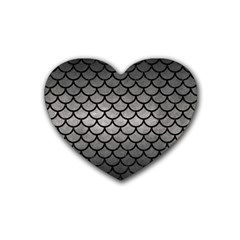 Scales1 Black Marble & Gray Metal 1 (r) Rubber Coaster (heart)  by trendistuff