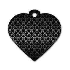 Scales2 Black Marble & Gray Metal 1 Dog Tag Heart (two Sides) by trendistuff