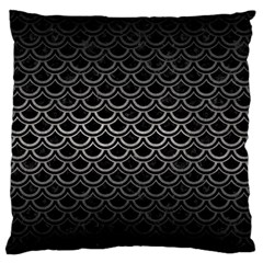Scales2 Black Marble & Gray Metal 1 Large Flano Cushion Case (one Side) by trendistuff