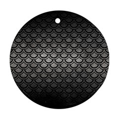 Scales2 Black Marble & Gray Metal 1 (r) Round Ornament (two Sides) by trendistuff