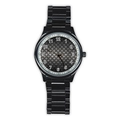 Scales2 Black Marble & Gray Metal 1 (r) Stainless Steel Round Watch by trendistuff