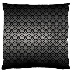 Scales2 Black Marble & Gray Metal 1 (r) Large Flano Cushion Case (two Sides) by trendistuff