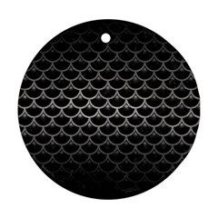 Scales3 Black Marble & Gray Metal 1 Ornament (round) by trendistuff