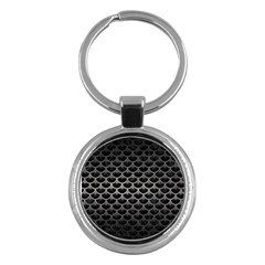 Scales3 Black Marble & Gray Metal 1 Key Chains (round)  by trendistuff
