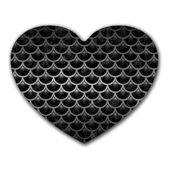 Scales3 Black Marble & Gray Metal 1 Heart Mousepads by trendistuff