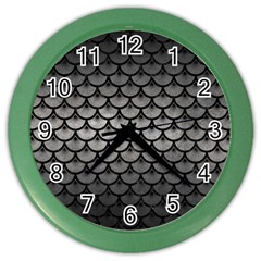 Scales3 Black Marble & Gray Metal 1 (r) Color Wall Clocks