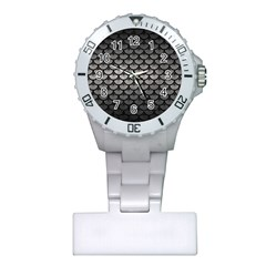 Scales3 Black Marble & Gray Metal 1 (r) Plastic Nurses Watch by trendistuff