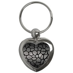 Skin1 Black Marble & Gray Metal 1 Key Chains (heart)  by trendistuff