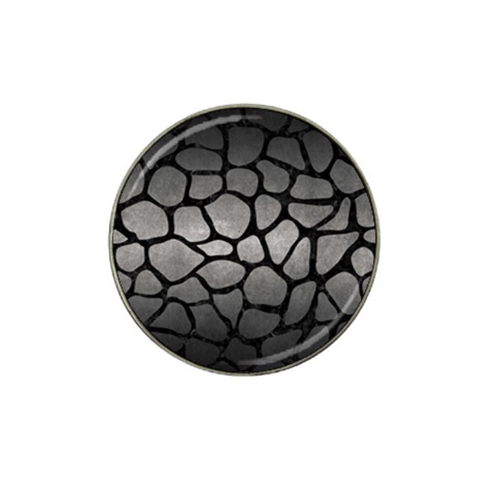 SKIN1 BLACK MARBLE & GRAY METAL 1 Hat Clip Ball Marker (4 pack)