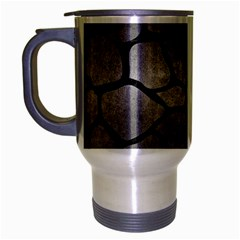 Skin1 Black Marble & Gray Metal 1 Travel Mug (silver Gray)
