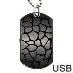 Skin1 Black Marble & Gray Metal 1 Dog Tag Usb Flash (two Sides) by trendistuff