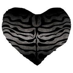 Skin2 Black Marble & Gray Metal 1 (r) Large 19  Premium Heart Shape Cushions by trendistuff