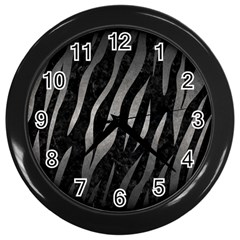 Skin3 Black Marble & Gray Metal 1 Wall Clocks (black) by trendistuff