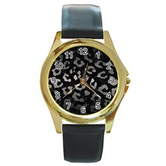 Skin5 Black Marble & Gray Metal 1 (r) Round Gold Metal Watch by trendistuff