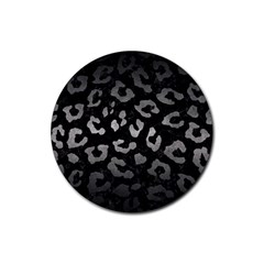 Skin5 Black Marble & Gray Metal 1 (r) Rubber Coaster (round)  by trendistuff
