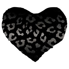 Skin5 Black Marble & Gray Metal 1 (r) Large 19  Premium Flano Heart Shape Cushions by trendistuff