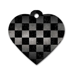 Square1 Black Marble & Gray Metal 1 Dog Tag Heart (two Sides) by trendistuff