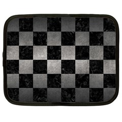 Square1 Black Marble & Gray Metal 1 Netbook Case (large) by trendistuff
