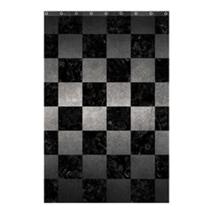 Square1 Black Marble & Gray Metal 1 Shower Curtain 48  X 72  (small)  by trendistuff