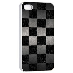 Square1 Black Marble & Gray Metal 1 Apple Iphone 4/4s Seamless Case (white) by trendistuff