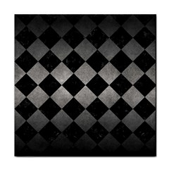 Square2 Black Marble & Gray Metal 1 Tile Coasters