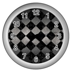 Square2 Black Marble & Gray Metal 1 Wall Clocks (silver)  by trendistuff