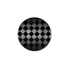 Square2 Black Marble & Gray Metal 1 Golf Ball Marker (4 Pack)