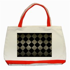 Square2 Black Marble & Gray Metal 1 Classic Tote Bag (red) by trendistuff