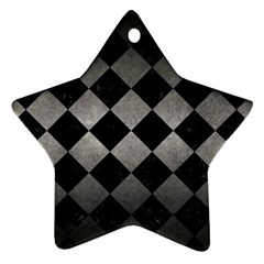 Square2 Black Marble & Gray Metal 1 Star Ornament (two Sides) by trendistuff