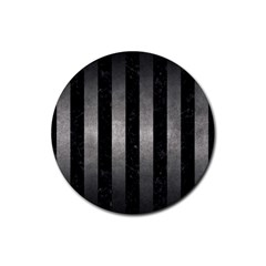 Stripes1 Black Marble & Gray Metal 1 Rubber Coaster (round)  by trendistuff