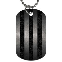 Stripes1 Black Marble & Gray Metal 1 Dog Tag (two Sides) by trendistuff