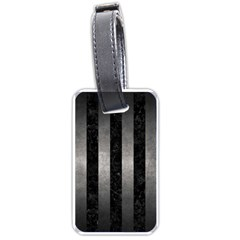 Stripes1 Black Marble & Gray Metal 1 Luggage Tags (two Sides) by trendistuff