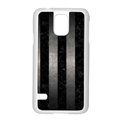Stripes1 Black Marble & Gray Metal 1 Samsung Galaxy S5 Case (white)