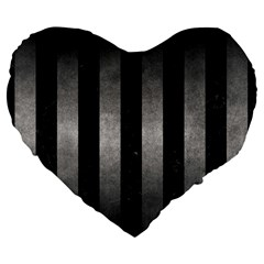 Stripes1 Black Marble & Gray Metal 1 Large 19  Premium Flano Heart Shape Cushions by trendistuff
