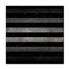 Stripes2 Black Marble & Gray Metal 1 Tile Coasters by trendistuff