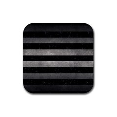 Stripes2 Black Marble & Gray Metal 1 Rubber Coaster (square)  by trendistuff