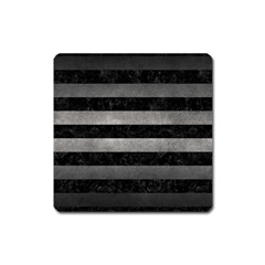 Stripes2 Black Marble & Gray Metal 1 Square Magnet by trendistuff