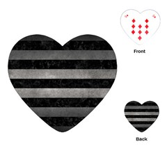 Stripes2 Black Marble & Gray Metal 1 Playing Cards (heart)  by trendistuff