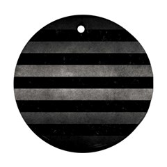 Stripes2 Black Marble & Gray Metal 1 Round Ornament (two Sides) by trendistuff