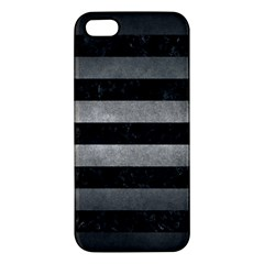 Stripes2 Black Marble & Gray Metal 1 Apple Iphone 5 Premium Hardshell Case by trendistuff