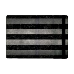 Stripes2 Black Marble & Gray Metal 1 Ipad Mini 2 Flip Cases by trendistuff