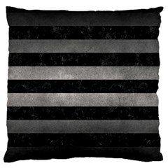 Stripes2 Black Marble & Gray Metal 1 Large Flano Cushion Case (one Side) by trendistuff