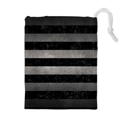 Stripes2 Black Marble & Gray Metal 1 Drawstring Pouches (extra Large) by trendistuff