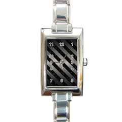 Stripes3 Black Marble & Gray Metal 1 (r) Rectangle Italian Charm Watch by trendistuff