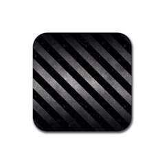 Stripes3 Black Marble & Gray Metal 1 (r) Rubber Square Coaster (4 Pack)  by trendistuff