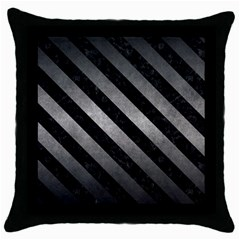 Stripes3 Black Marble & Gray Metal 1 (r) Throw Pillow Case (black) by trendistuff